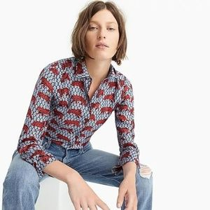 J. Crew Collection silk button-up roaming tiger